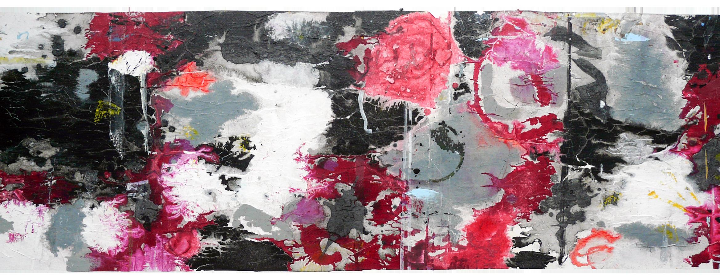"""Midsummersnow, 2015<br><span class=""""untertitel"""">Collage auf Lwd. 80x145cm</span>"""