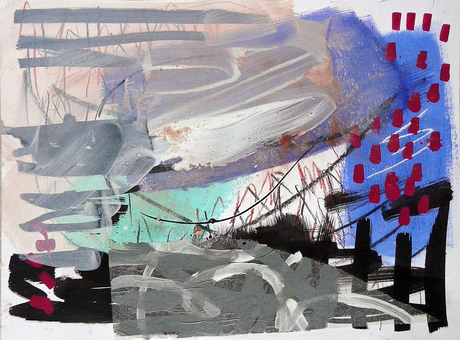 """Skizze, 2015<br><span class=""""untertitel"""">Mischtechnik / Papier<br>H 30 cm x B 40 cm</span>"""