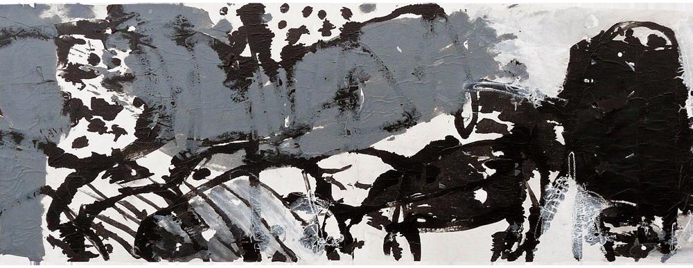 """Traumpaket, 2015<br><span class=""""untertitel"""">Collage auf Lwd. 80x140cm</span>"""