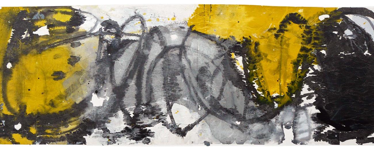 """Über Zeit und Raum verbunden, 2015<br><span class=""""untertitel"""">Collage auf Lwd. 80x140cm</span>"""